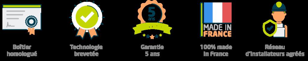 Bandeau pictogrammes boîtiers homologués, technologie brevetée, garantie 5 ans, 100% made in France, réseau d'installateurs agréés, des dispositifs de conversion E85 FlexFuel Energy Development