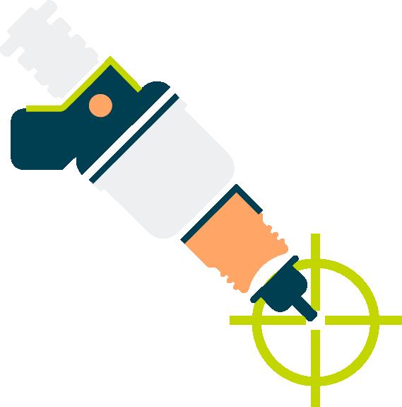 Pictogramme précision d'injection des dispositifs de conversion au Superéthanol FlexFuel Energy Development